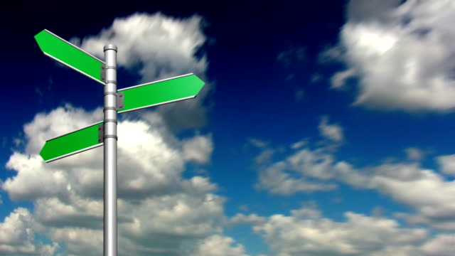 Looping clouds with blank signpost - HD720p video