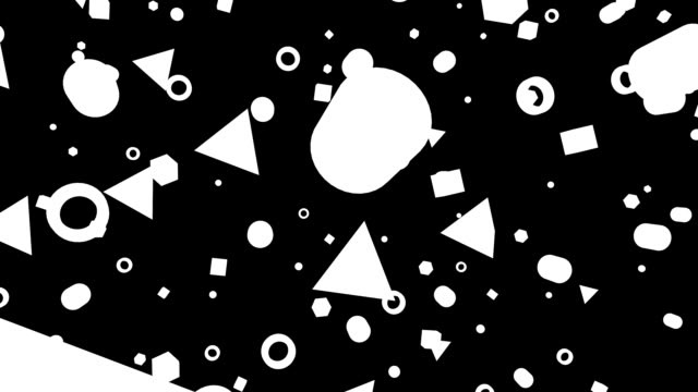 Looping geometric black and white bouncing confetti shapes video
