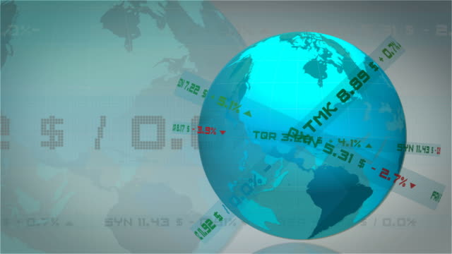 Looping Globe and Stock Exchange Animation video