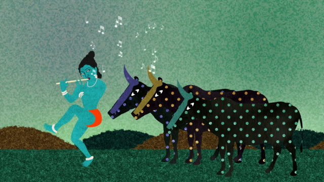 Lord Krishna Playing Flute to Holy Cows video