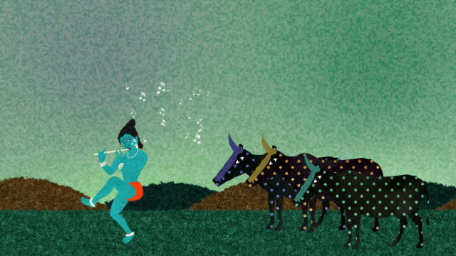 Lord Krishna Playing His Flute to Cows video