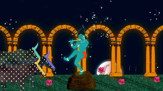 Lord Krishna Playing on the Flute in a Garden at Night video