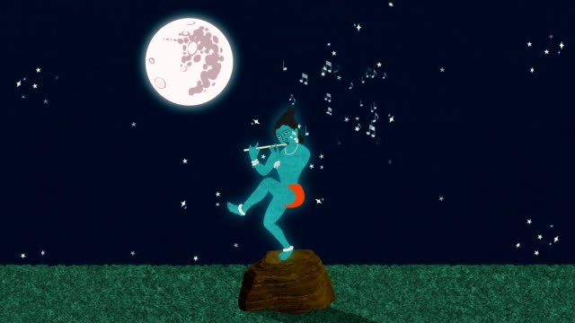 Lord Krishna Playing the Flute at a Full Moon Night video