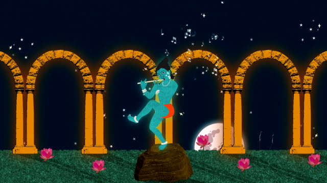 Lord Krishna Playing the Flute in a Garden at Night video