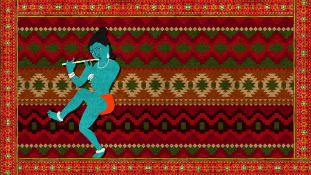 Lord Krishna Playing the Flute on a Decorative Background video