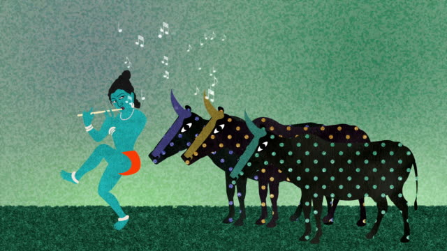 Lord Krishna Playing the Flute to a Herd of Cows video