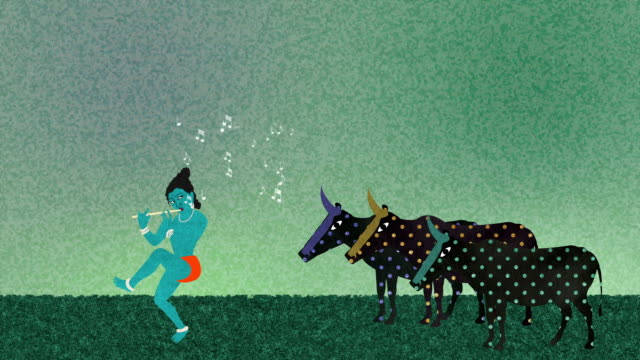Lord Krishna Playing the Flute to Cows on a Field video