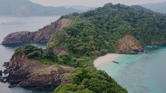 Lord Loughbolough lsland with white sandy beach. Aerial view from drone. Myanmar (Burma) travel destinations video