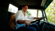 Lorry Driver at the Wheel of Truck video
