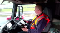 4K: Lorry / Truck Driver on the road video