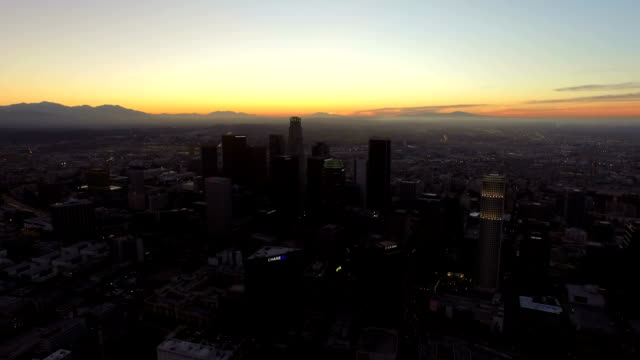 Los Angeles Aerial Downtown Cityscape Dawn video