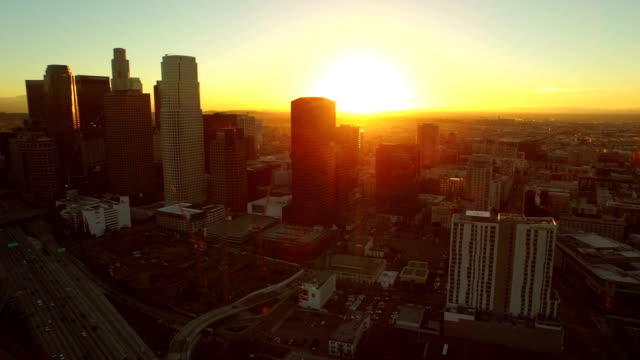 Los Angeles Aerial Downtown Cityscape Sunrise video