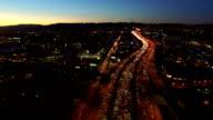 Los Angeles Aerial Freeway Dusk video