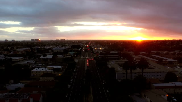 Los Angeles Aerial Venice Blvd Sunset video