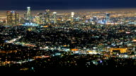 Los Angeles City Skyline Night Blur Focus Background video
