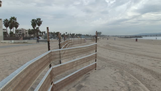 (HD1080i) Los Angeles: Fence on Santa Monica, Venice Beach Sand video