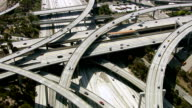 Los Angeles freeway, aerial shot video
