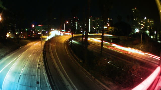 Los Angeles Freeway Traffic at Night video