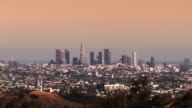Los Angeles Skyline at Sunset (zoom HD) video