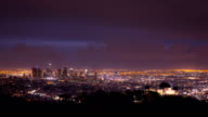 Los Angeles Skyline with Griffith Park Observatory video