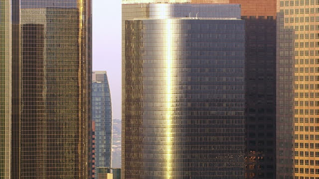 Los Angeles skyscrapers reflecting early morning light video