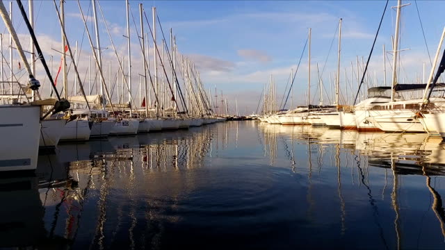 A lot of beautiful sailing yachts and catamarans moored to the pier in the Greek marina in Athens, the Mediterranean, a clear summer morning, sunrise. High masts of yachts. View from the pier video