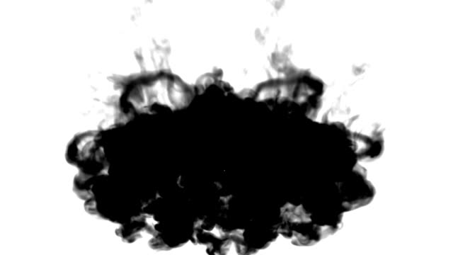 A lot of black ink flows on white moving in slow motion, ink or smoke inject . Writing ink mixes in water for Inky or smoky background or ink effects. Use luma matte like alpha mask or alpha channel video