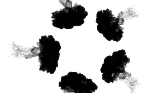 A lot of flows forming ring, ink inject is isolated on white in slow motion. Black tint drop in water. Inky background or backdrop with smoke, for ink effects use luma matte like alpha mask. video
