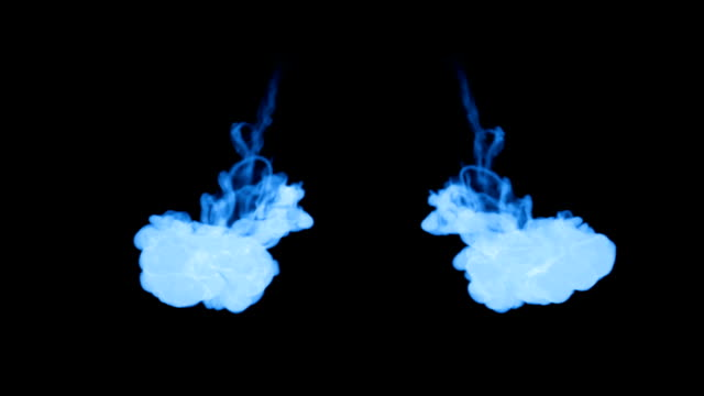 A lot of flows of fluorescent blue ink or smoke, isolated on black in slow motion. Blue dye curls in water. Use for ink background, ink effects. Alpha channel is on use luma matte as alpha mask video