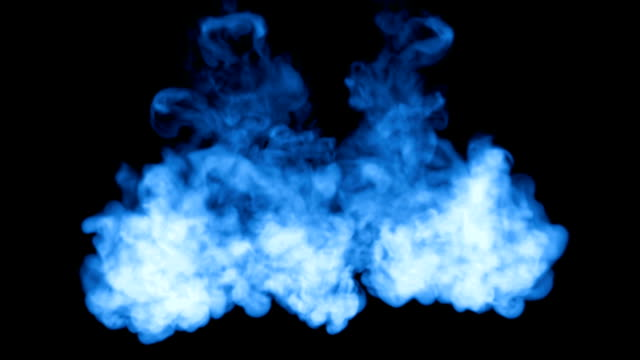 A lot of flows of fluorescent blue ink or smoke, isolated on black in slow motion. Blue paint flow in water. Use for ink background, ink effects. Alpha channel is on use luma matte as alpha mask video