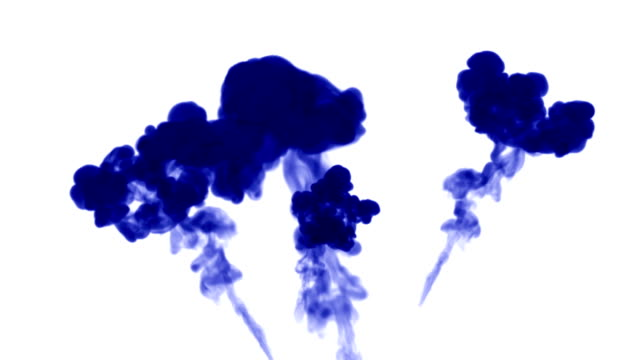 A lot of flows of isolated blue ink injects. Blue colour swirls in water , shot in slow motion. Use for inky background or backdrop with smoke or ink effects, alpha channel is on use for it luma matte video
