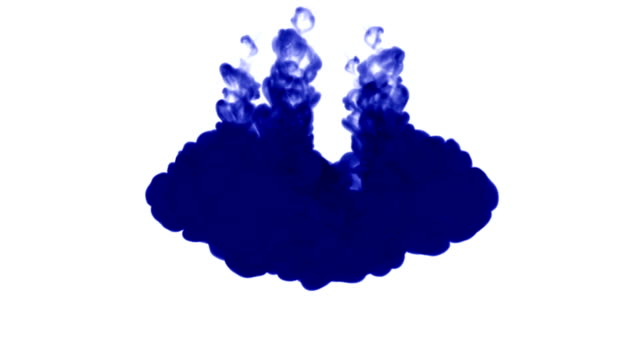 A lot of flows of isolated blue ink injects. Blue water , shot in slow motion. Use for inky background or backdrop with smoke or ink effects, alpha channel is on use for it luma matte video