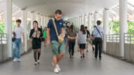 A lot of people are walking on the street at the central business district of Sathorn video