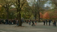 A lot of people enjoying Central Park at fall NYC video