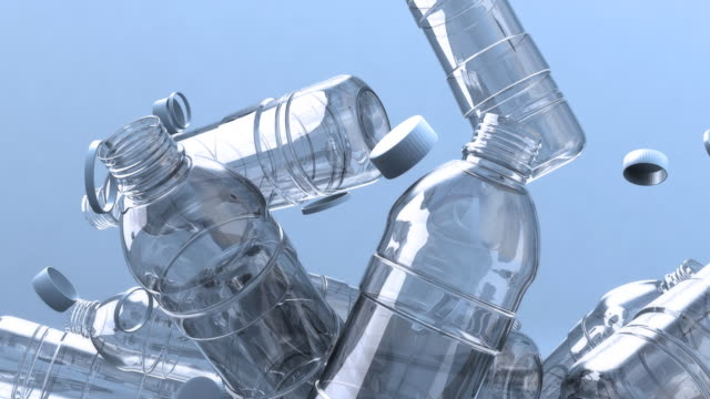 Lots of falling water bottles video