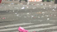 Lots of litter on road. video