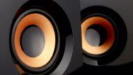 Loud speaker. Speaker cone pumping. Closeup video