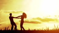 Love Couple Sunset Silhouettes Vacation Happiness Concept video