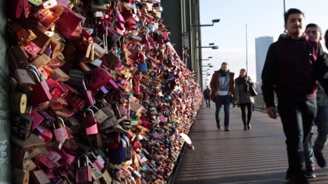 love locks on the railway bridge of Cologne video