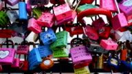 Love of lock Landmark at seoul tower in Korea video