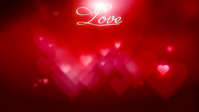 Love text with red hearts background video