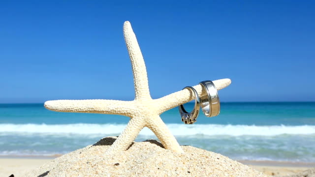 Love travel concept Wedding rings and starfish on tropical beach Oahu Hawaii video