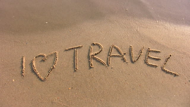 I love travel word on beach video