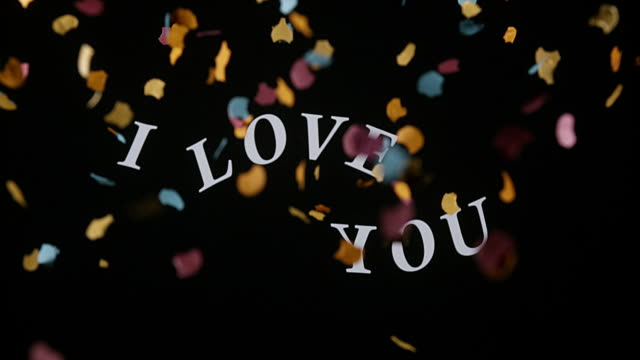 I Love You and Red Hearts for Saint Valentine's Day, Slow Motion 4K video