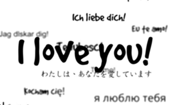 I love you in multiple languages words background loop with matte video