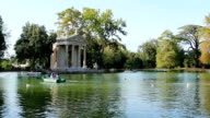 lovely and romantic lake inside Villa Borghese park in Rome video