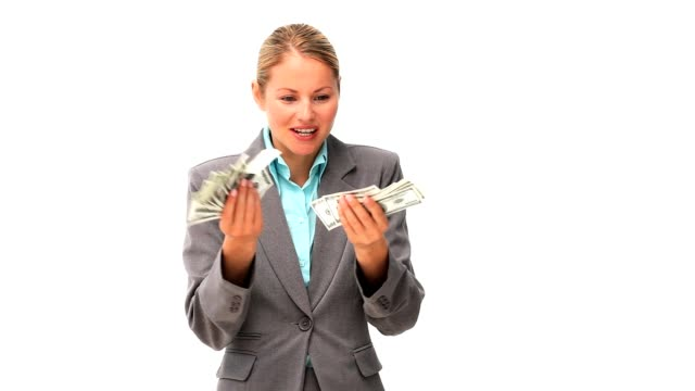 Lovely business woman showing off his cash video
