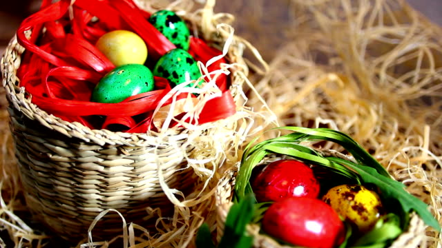 Lovely Easter eggs in baskets video