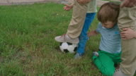 Lovely Kids and Daddy Playing with Soccer Ball video