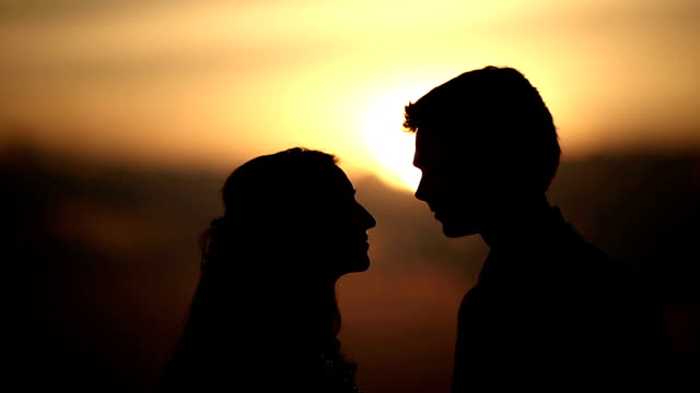 Loving couple at sunset video
